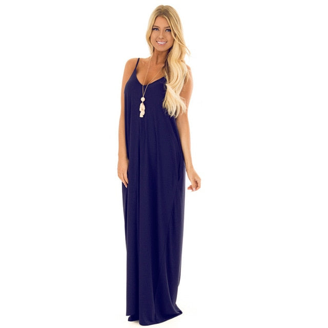 Dark Blue Sexy Backless Loose Long Dress for Party & Beach
