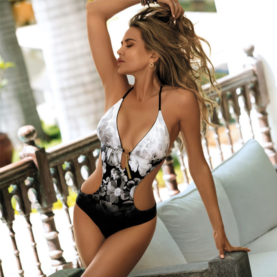 Floral Backless Cut Out One Piece Swimsuit
