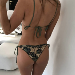 Coconut Tree Print Sexy Swimming Bikini Bra + Brief