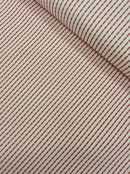 Linear Dash Print Craft Cotton - Red on White