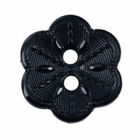 2 Hole Button - Black Flower