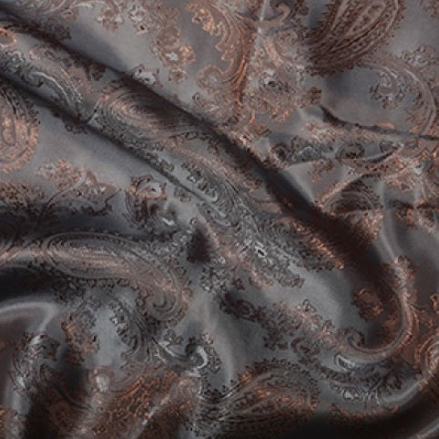 Paisley Jacquard Lining - Silver/Rust