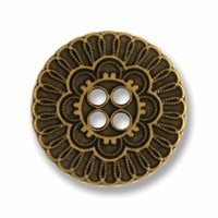 4 Hole Button - Bronze Metal Flower