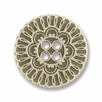 4 Hole Button - Silver Metal Flower