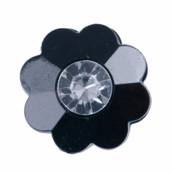 Flower with Rhinestone - Black