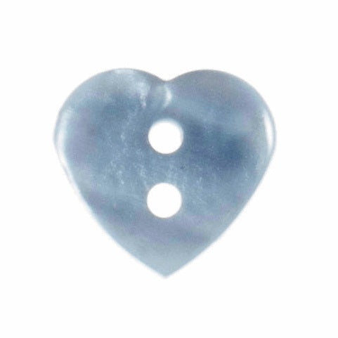 2 Hole Button - Light Blue Glossy Heart