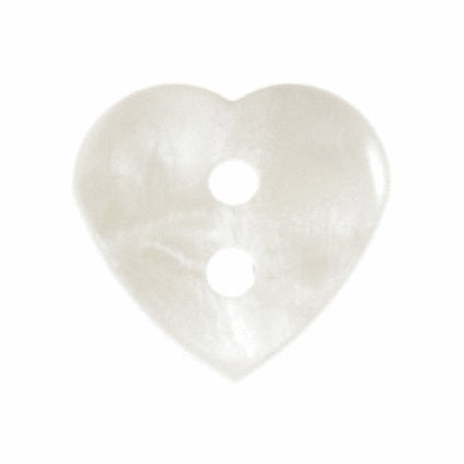 2 Hole Button - White Glossy Heart