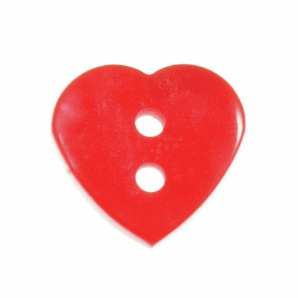 2 Hole Button - Red Glossy Heart