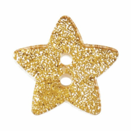 2 Hole Button - Gold Chunky Glitter Star