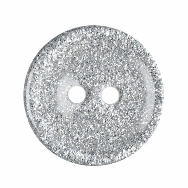 2 Hole Button - Silver Glitter Round