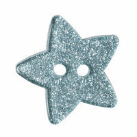 2 Hole Button - Light Blue Glitter Star