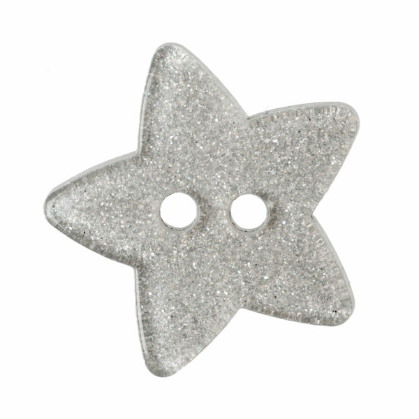 2 Hole Button - Silver Glitter Star