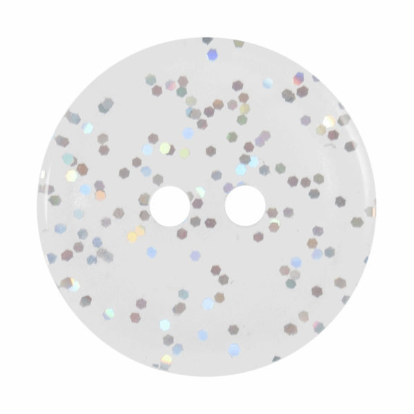 2 Hole Button - Transparent Glitter Clear