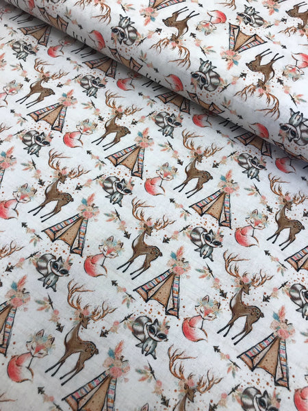 Chic Deer and Fox Printed Cotton