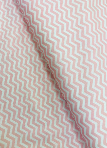 Pink and White Chevron Printed Cotton