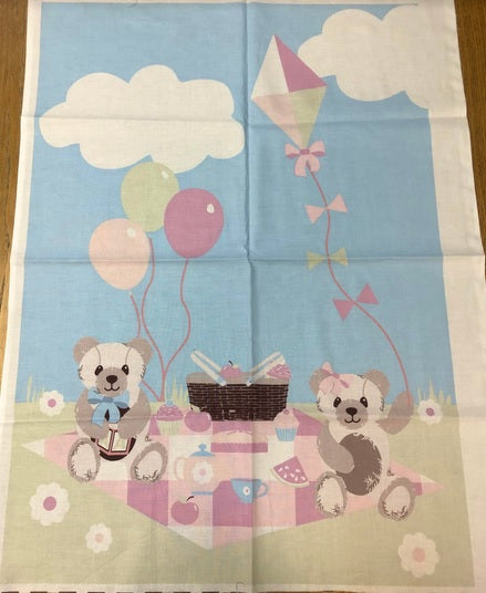 Cotton Panel - Teddy Bear Picnic Pastel