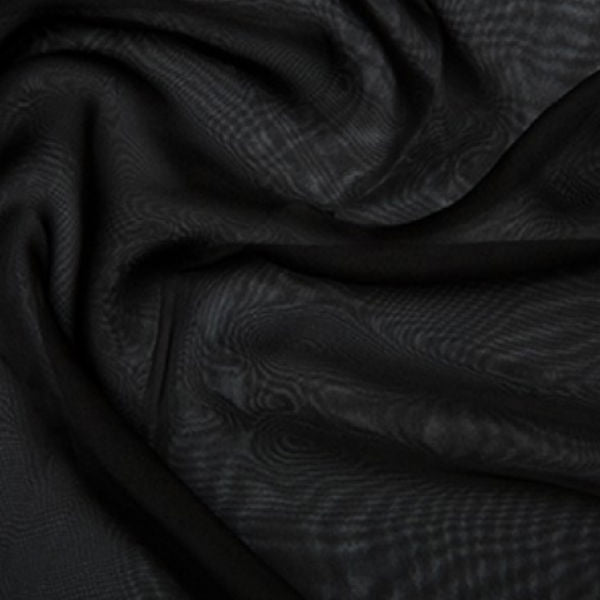 100% Polyester Cationic Chiffon - Black
