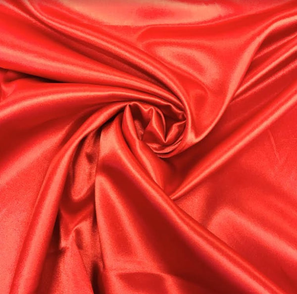 Stretch Satin - Bright Red