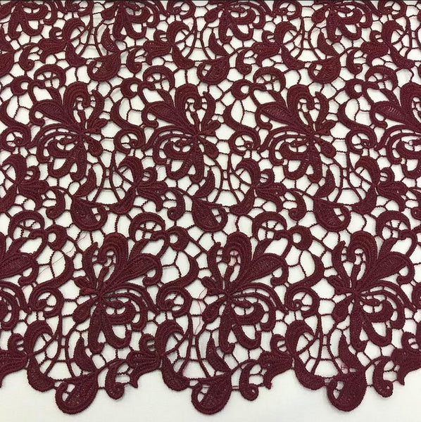 Floral Guipure Lace - Burgundy