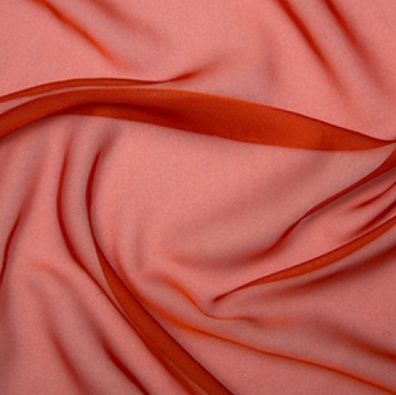 100% Polyester Cationic Chiffon - Burnt Orange