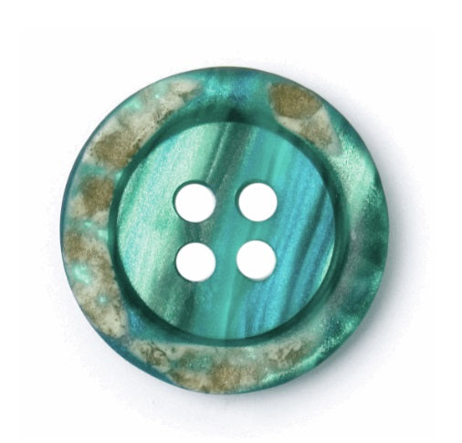 4 hole Button - Teal Marble Effect