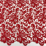 Floral Guipure Lace - Red