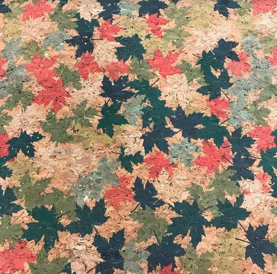 Cork Print - Red/Green Leaf with Gold Metallic