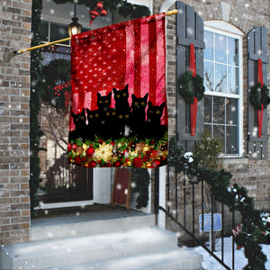 Black Cat Christmas Flag