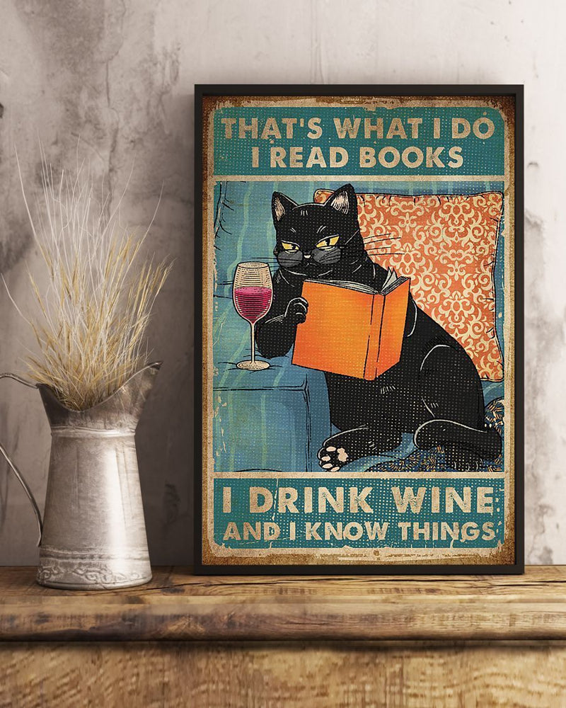 Black Cat Read Books Drink Wine Know Things Vintage Christmas Gift Poster