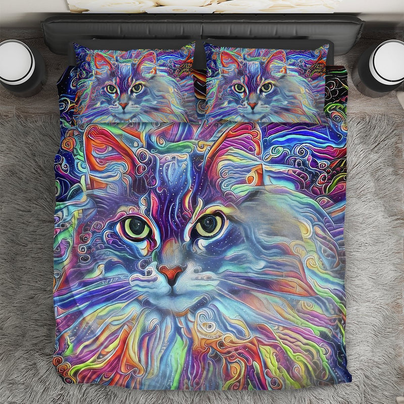 Cat Lover Colorful Maine Coon Cat Printed Bedding Set