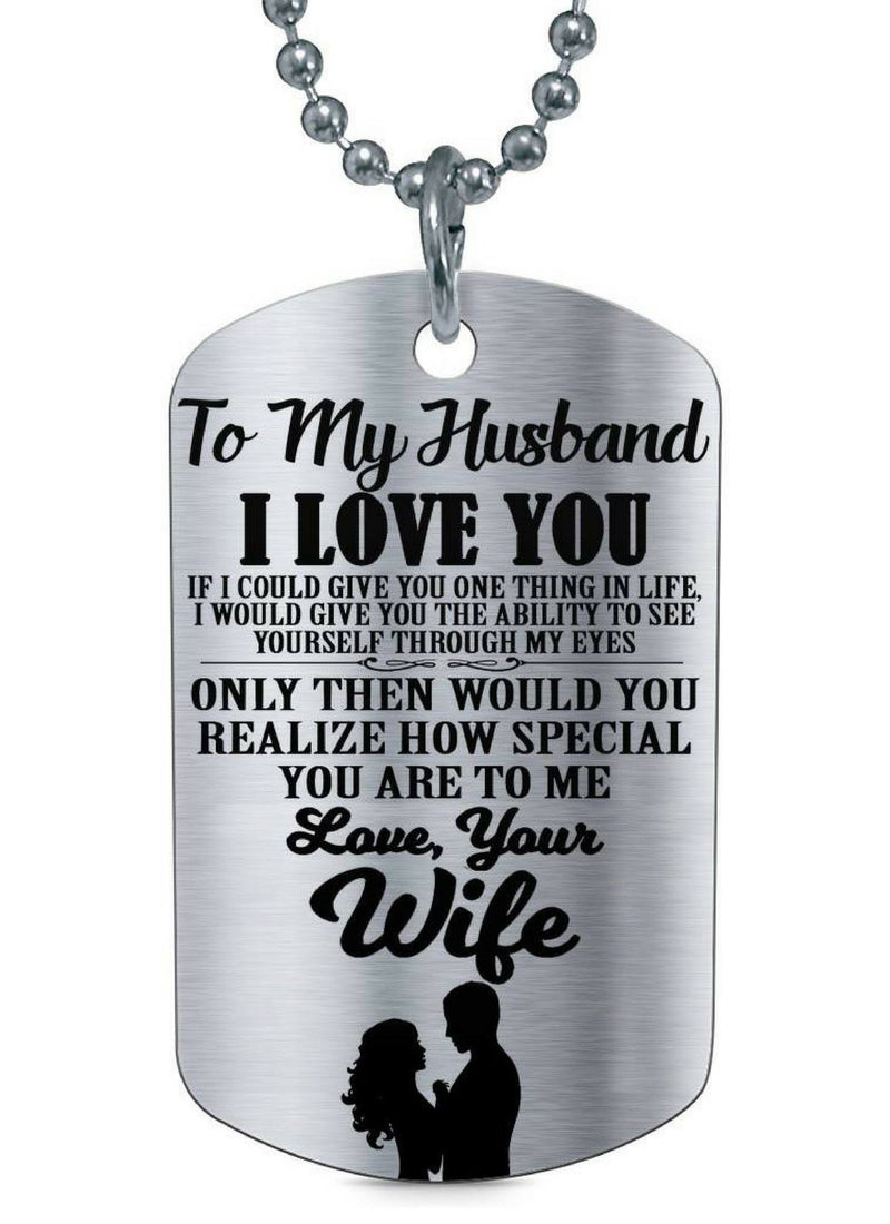 From Wife To Husband Love You Meaningful Quote Couple Valentine Gift Dog Tag