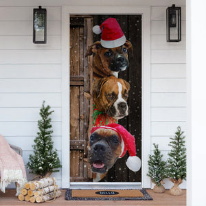 Boxer Dog Lover Christmas Wooden Printed Door Cover