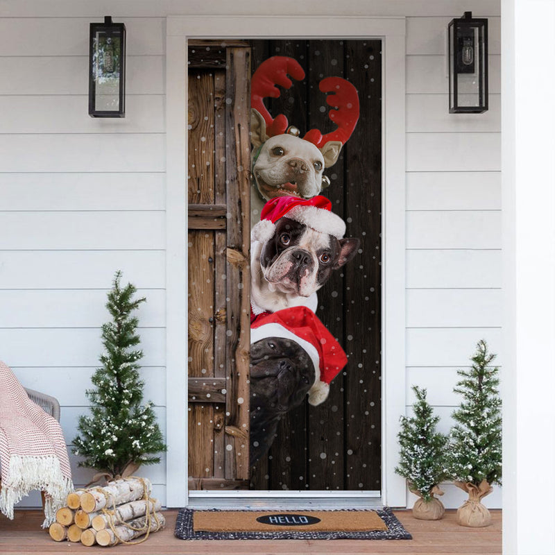 French Bulldog Dog Lover Christmas Wooden Printed Door Cover