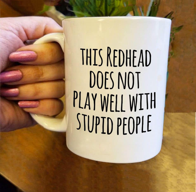 Redhead Does Not Play Well With Stupid People Christmas Gift Mug
