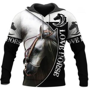 Love White Horse Gift Printed 3D Hoodie