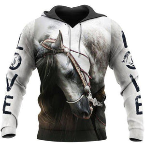 Love White Horse Gift Full Printed 3D Hoodie