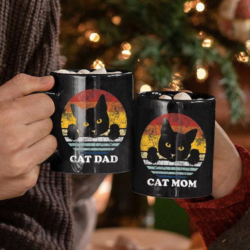 Cat Dad Mom Vintage Couple Valentine Gift Mug