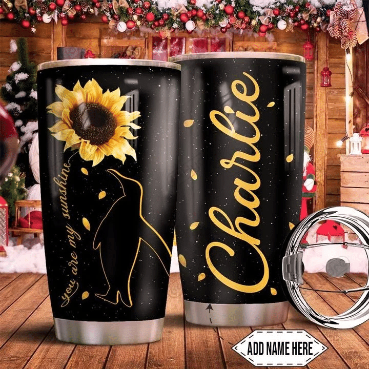 Sunflower Penguin You Are My Sunshine Personalized Stainless Steel Tumbler