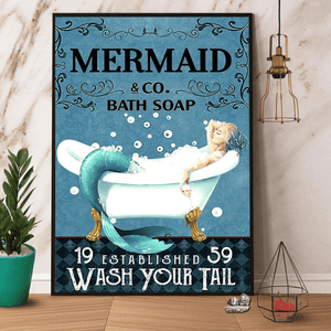 Mermaid & Co Bath Soap Wash Your Tail Paper Wall Art Poster