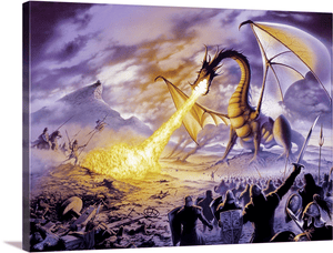 Dragon Battle Ghostly Wall Art Decor Poster