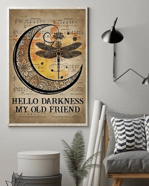 Hippie Dragonfly And Moon Hello Darkness My Old Friend Quotes, Wall Art Decor Poster