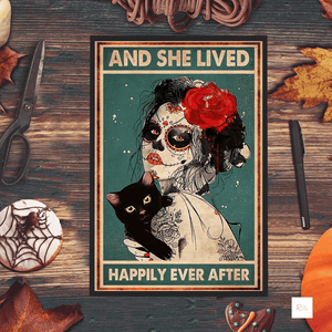 And She Lived Happily Ever After Skull Girl Cat Poster
