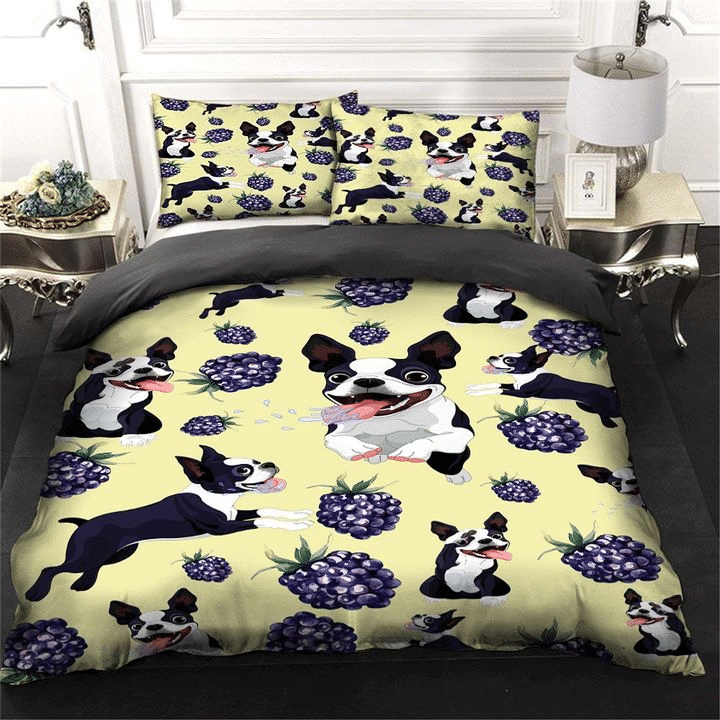 Boston Terrier And Grapes, Dog Lovers Bedding Set
