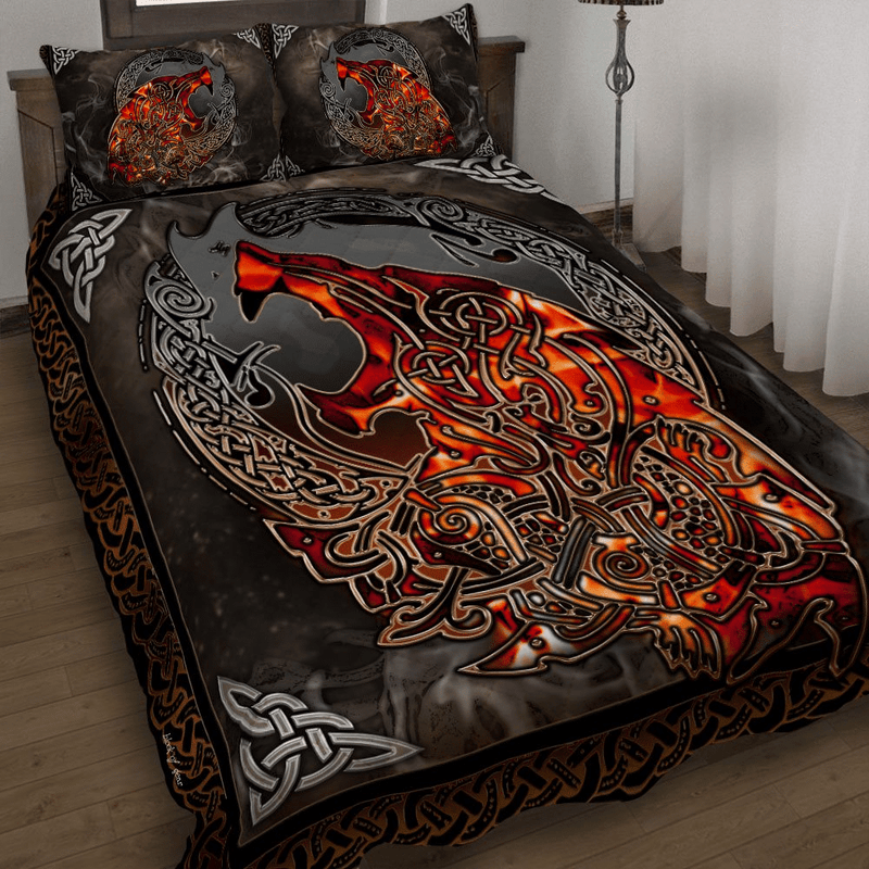 Fire Wolf Viking Bedding Set