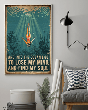 Swimming Find My Soul Wall Art Decor Poster