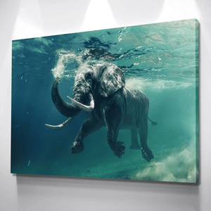 Elephant Swimming Under The Ocean Wall Art Poster