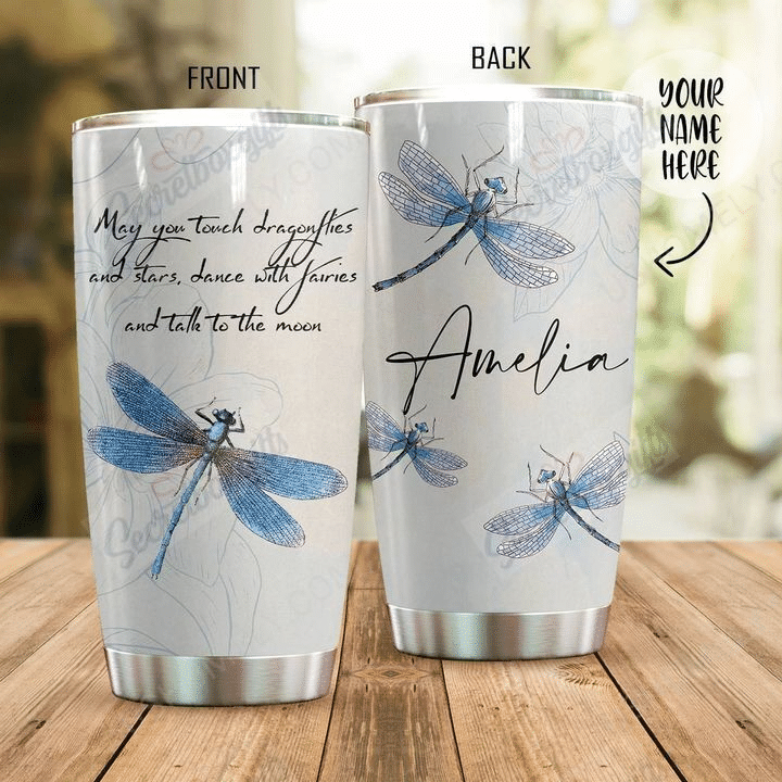 Personalize Custom Light Dragonfly Tumbler