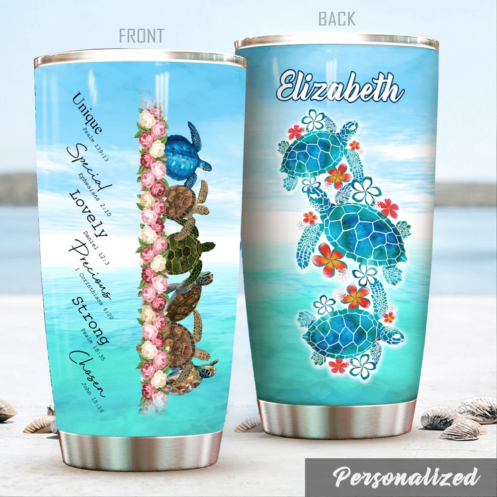 Turtle Christ God Says You Are, Customize Name Personalized Tumbler