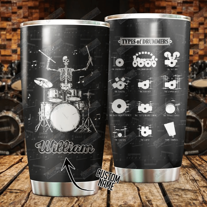 Personalized Drummer Skeleton With Funny Sayings Tumbler