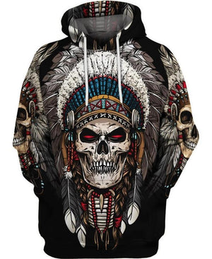 Skull Cosplay Custume Black Native American Full Printed 3D Hoodie